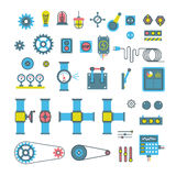 Machinery parts flat vector icons Royalty Free Stock Image