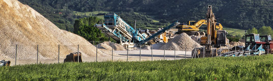 Machinery for production gravel. Production base of crushed stone Royalty Free Stock Photography