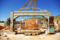 Machinery in quarry of marble . Royalty Free Stock Images