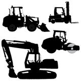 Machinery. Set of silhouettes of a tractors of roa Stock Photo