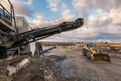 Machinery to transform the stone into gravel to build roads.  royalty free stock image