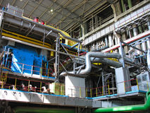 Machinery, tubes and steam turbine Royalty Free Stock Photography