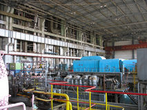 Machinery, tubes, steam turbine at power plant Stock Photography