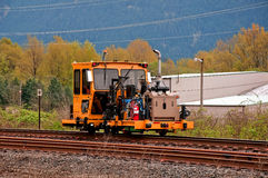Machinery Work on Railroad Tracks Royalty Free Stock Images