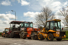 Machinery for working roads (under construction). Stock Photos