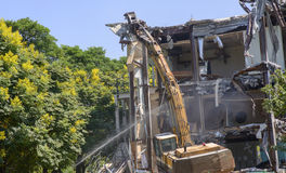 Machinery working on site demolition Royalty Free Stock Photography