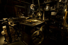 MACHINERY - WORKSHOP - GOLD METAL royalty free stock images