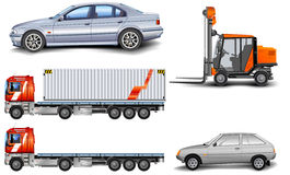 Machines. Different kinds of machines: lorry, freight elevator, car, illustration Stock Images