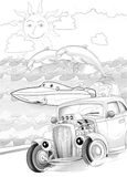Machines - artistic coloring page Royalty Free Stock Image