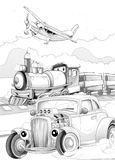 Machines - artistic coloring page Royalty Free Stock Photos