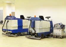 Machines for cleaning large spaces. Professional floor cleaning machines royalty free stock image