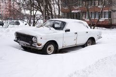 Machines covered with snow, winter snowstorm. Vehicles are covered with snow, bad weather Royalty Free Stock Image