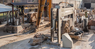 Machines for cutting marble blocks into slabs for the construction industry. Plant for cutting stone blocks into slabsfor the construction industry royalty free stock photography