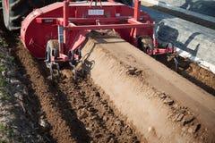 Machines d'agriculture sur le gisement d'asperge Photos stock