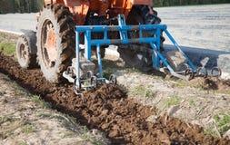 Machines d'agriculture sur le gisement d'asperge Photo libre de droits