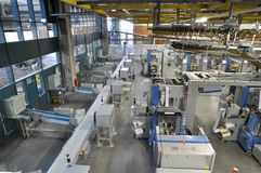 Machines of a large printing plant - printing of daily newspaper. S Stock Images