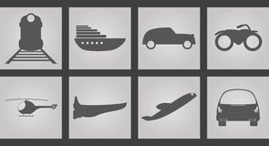 Machines for movement Icons. Set of Icons on a theme Machines for movement Royalty Free Stock Images