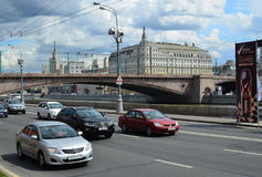 Machines are moving along the Kremlin embankment Royalty Free Stock Photos