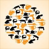 Machines-outils noires et icônes jaunes en cercle Image stock
