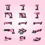 Machines-outils sans fil roses réglées illustration de vecteur