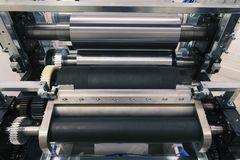 Machines pour la presse de flexo photographie stock libre de droits