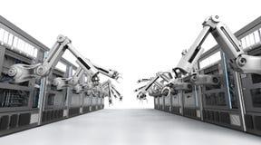 Machines robotiques avec la ligne de convoyeur Image libre de droits