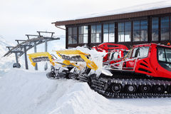 Machines for skiing slope preparations Royalty Free Stock Photos