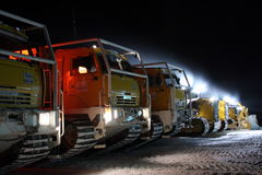 Machines on stop arctic in the night. Machines on stop, photo shooting arctic in the night. Russian Federation, Taymyr, Krasnoyarskiy region stock image