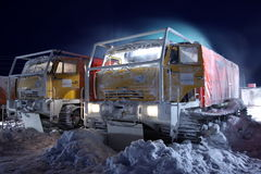 Machines on stop arctic in the night Royalty Free Stock Photos