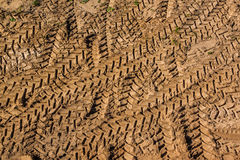 Machines tracks on the field of construction Royalty Free Stock Photography