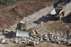 Machines work on public works. Construction of the expressway IC9 Leiria - Portugal Stock Images