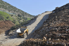 Machines work on public works. Construction of the expressway IC9 Leiria - Portugal Stock Photos