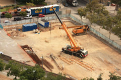 Machines working on a building site Royalty Free Stock Photography