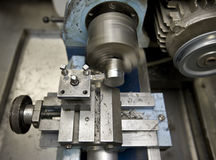 MachineShop. Image of lathe at work in machine shope royalty free stock photos