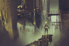 Machinez la position sur une plate-forme regardant le barrage futuriste illustration de vecteur