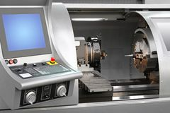 Machining centre. Combination machinery in work shop royalty free stock photos