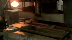 Machining metal parts factory. Metal parts processing factory worker stamps drills and welds parts stock video footage