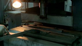 Machining metal parts factory. Metal parts processing factory worker stamps drills and welds parts stock video
