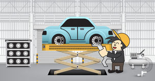 Machinist. Working with car in factory Stock Photos