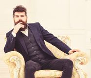 Macho attractive and elegant on serious face and thoughtful expression. Man with beard and mustache wearing classic suit. Sits on old fashioned armchair, white stock images
