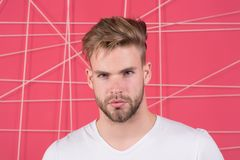 Macho with beard on unshaven face. Bearded man with blond hair and stylish haircut. Handsome guy with healthy young skin face. Hai royalty free stock photography