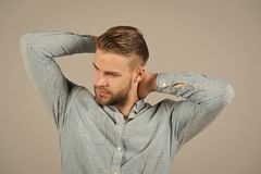 Macho in blue fashionable shirt, fashion. Man with bearded face and blond hair, haircut. Mens fashion style and trend. Grooming and hair care in beauty salon royalty free stock photography