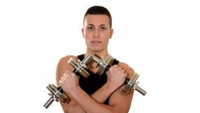 Macho boy with dumbbells stock video