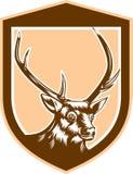 Macho Buck Head Woodcut Shield de los ciervos stock de ilustración