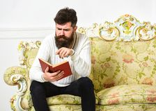 Macho on concentrated face reading book. Scandalous bestseller concept. Guy reading book with attention. Man with beard. And mustache sits on baroque style sofa stock image