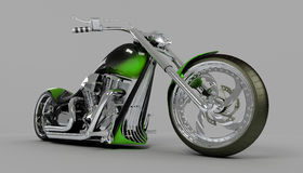 Macho custom bike green motorcycle. Hires computer generated image of macho green custom bike or motorcycle Stock Images
