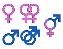 Macho dos símbolos do género, fêmea ilustração royalty free