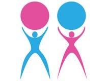Macho e fêmea da silhueta do logotipo ilustração do vetor