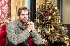 Macho i tröja på xmas-trädet i vardagsrum royaltyfri foto
