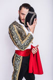 Macho. Male dressed as matador. Isolated studio portrait Royalty Free Stock Photos